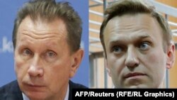 A combo photo shows Russian opposition leader Aleksei Navalny (right) and Viktor Zolotov, the head of Russia's National Guard.