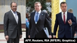 From left: Sergei Lavrov, Aleksei Kudrin, and Dmitry Medvedev