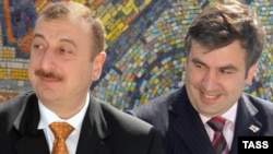 Azerbaijani President Ilham Aliyev (left) and Georgian President Mikheil Saakashvili at the inauguration of the BTC pipeline in 2005