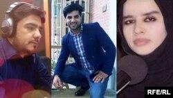RFE/RL journalists Sabawoon Kakar (left), Abadullah Hananzai (middle) and Maharram Durrani