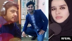 (L-R) Sabawoon Kakar / Abadullah Hananzai / Maharram Durrani, RFE/RL journalists who were killed in Kabul attack on April 30, 2018