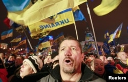 Участники массовых протестов в Киеве