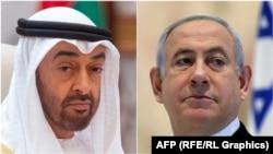 محمد بن زید ال نهیان د ابوظبي ولیعهد (کین) او د اسرائیل صدراعظم بنیامین نتانیاهو (ښی)