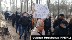 Organizers have been staging similar peaceful rallies in central Bishkek every Sunday since October 2020.