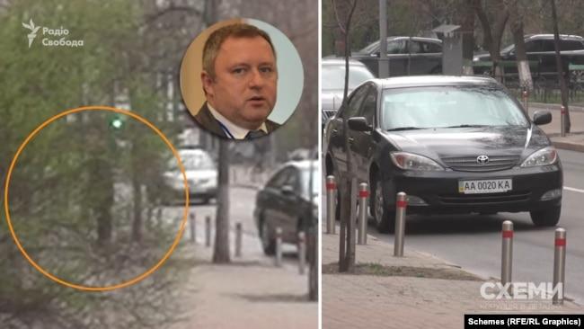 В один з днів «Схеми» зафіксували, як Андрій Костін приїжджав на конкурс на посаду голови САП на службовій машині автобази Верховної Ради