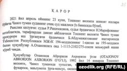 Решение суда по делу Аброра Атаджанова.