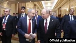 Премьер-министр Армении Никол Пашинян и президент России Владимир Путин (архивная фотография)