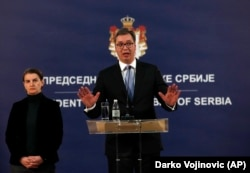 Александар Вучич під час прес-конференції після смерті Олівера Івановича. Белград, 16 січня 2018 року.