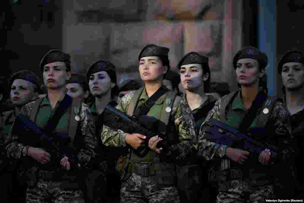 Ukrainian servicewomen attend a rehearsal on August 22 for the a Ukrainian Independence Day military parade in central Kyiv on August 24.