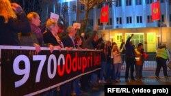 Montenegro, Podgorisa, hökümete garşy protest. 2-nji mart, 2019.
