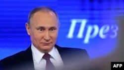 Президент Росії Володимир Путін під час щорічної підсумкової прес-конференції у Москві. 23 грудня 2016 року