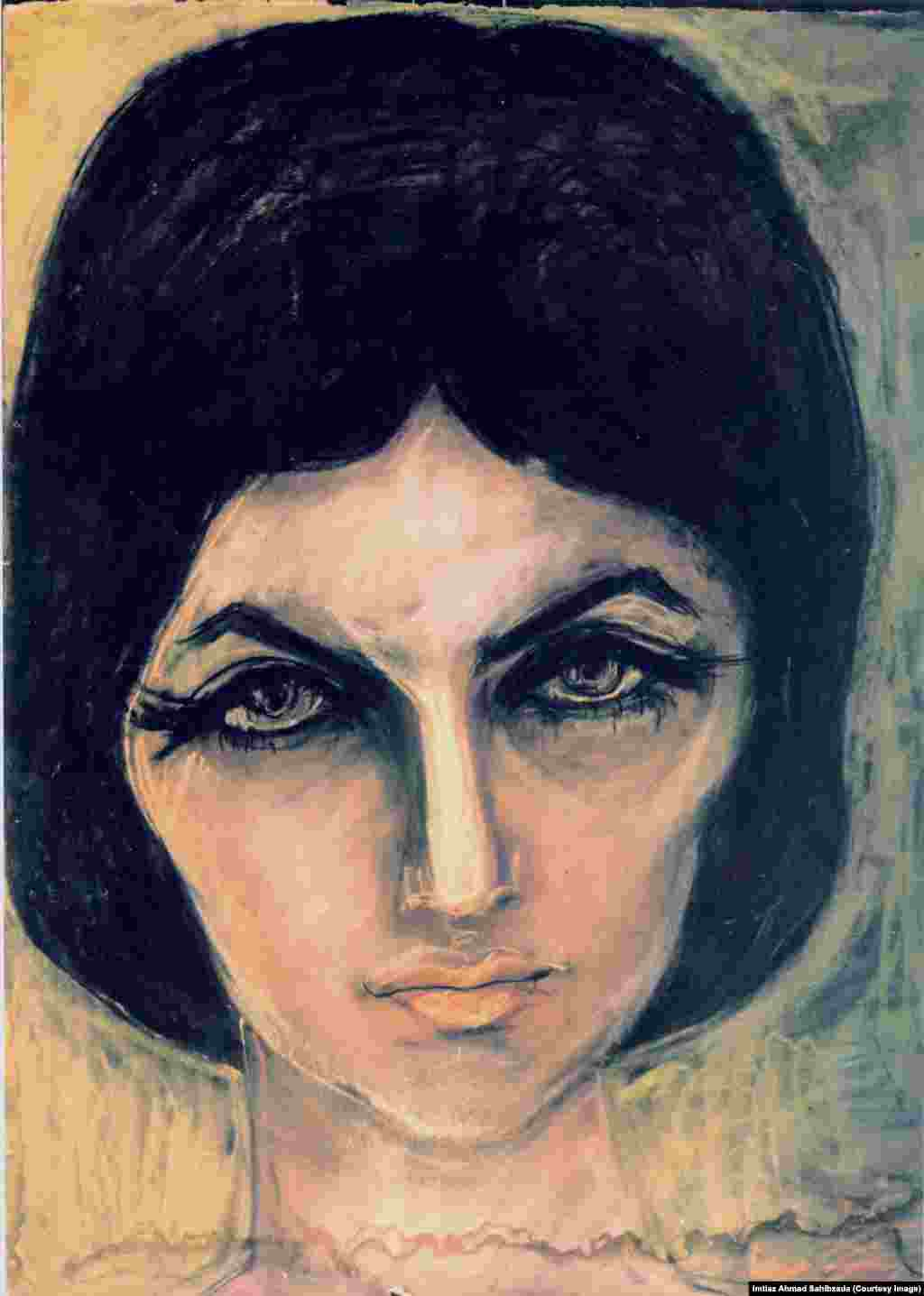A portrait of Shandana, Ghani Khan's elder daughter. Pastel on paper.