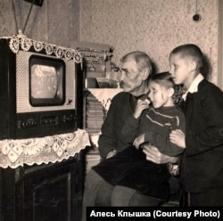 Ёсіф Голубеў з унукамі Марынай і Алесем