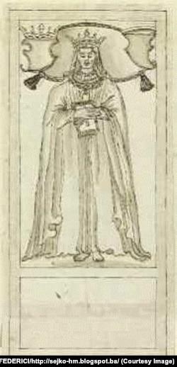 Crtež nadgrobne ploče kraljice Katarine Kosače Kotromanić iz Britanske biblioteke