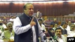 Pakistani Prime Minister Nawaz Sharif addresses parliament in Islamabad in August.