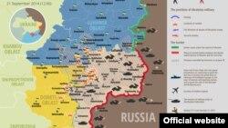 Украина шарқида 21 сентябрь кунги вазият акс этган харита.