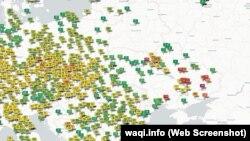 Публічна карта якості повітря з сайту waqi.info