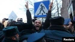 Վալերի Պերմյակովին հայ իրավապահներին հանձնելու պահանջով բողոքի ակցիա Գյումրիում, 15-ը հունվարի, 2015թ.