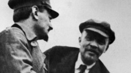 The dead communist revolutionaries Lev Trotsky (left) and Vladimir Lenin reportedly showed up at seances in Bila Tserkva in the 194os, landing a group of occultists in trouble with the Soviet authorities.