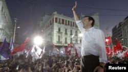 Алексис Ципрас на предвыборном митинге в Афинах