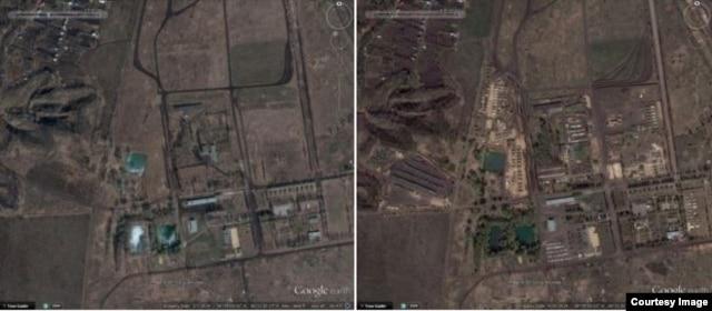 в/ч 11385-3. Слева - март 1014, справа - апрель 2014. Тягачи появились слева от дороги