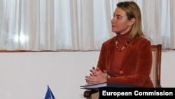 Верховный представитель Евросоюза по иностраннымделам и политике безопасности Федерика Могерини.Астана, 21 декабря 2015 года.