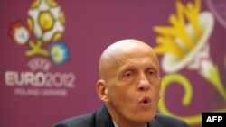 Former Italian referee Pierluigi Collina talks to the press during a workshop before the Euro 2012 tourney in Warsaw in May.