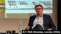 Професор української історії Гарвардського університету Сергій Плохій презентує свою книгу про Чорнобиль на лекції Українського інституту Лондона в Британській бібліотеці 28 травня 2019 року