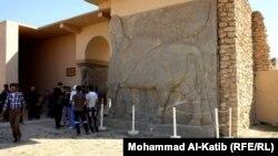 الثور المجنح في مدخل مدينة نمرود الاثرية في الموصل