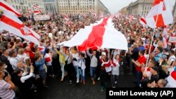 More than 100,000 people are estimated to have taken to the streets of Minsk on August 23.