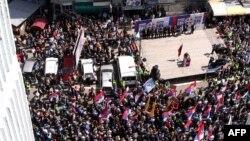 Акция протеста этнических сербов, проживающих на севере Косово, против соглашения между Белградом и Приштиной. Митровица, 22 апреля 2013 года.