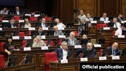 Armenia - Deputies from the Prosperous Armenia Party attend a parliament session in the absence of their leader Gagik Tsarukian, Yerevan, 22Jun2012.