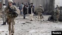 Ауғанстанның Кандагар уәлаятындағы АҚШ сарбазы. 20 ақпан 2012 жыл. Көрнекі сурет.