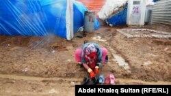 في مخيم دوميز للنازحين السوريين في دهوك