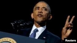 АҚШ-тың 44-президенті Барак Обаманың ел басшысы ретінде қоштасу сөзін сөйлеп жатқан сәті. Чикаго. 10 қаңтар, 2017 жыл.