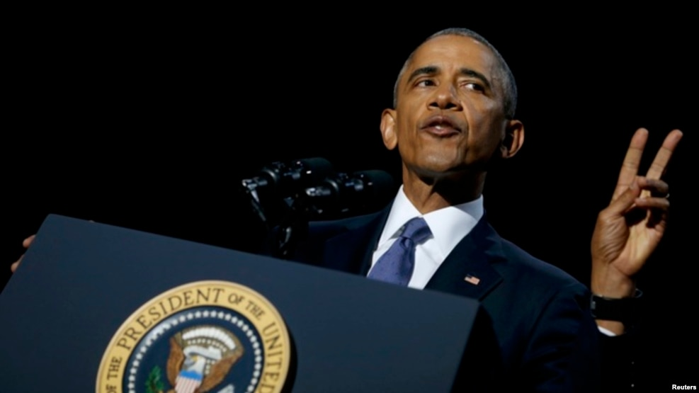 U.S. President Barack Obama delivers his farewell address
