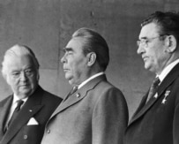 Leonid Brezhnev (center) at the opening ceremonies of the XXII Summer Olympics in 1980