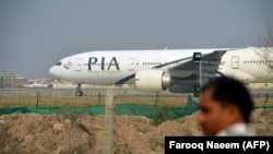 A Pakistan International Airlines (PIA) plane at the airport in Islamabad