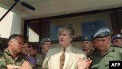 Radovan Karadzic in Pale in 1993, next to fellow UN indictee Ratko Mladic (left)