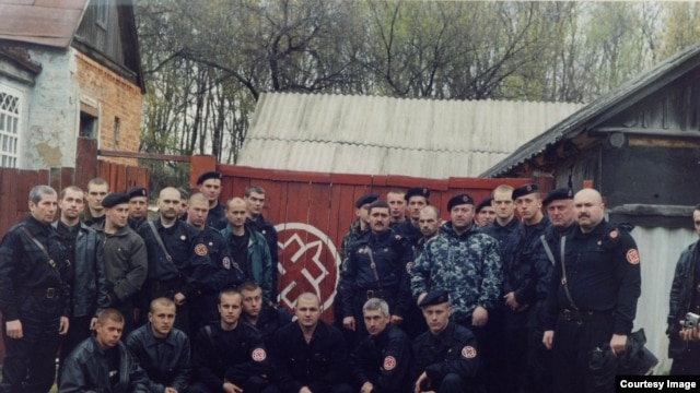 The self-proclaimed governor of the Donetsk region, Pavel Gubarev (first row, third from left), as a Russian nationalist.