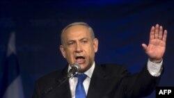 Benjamin Netanyahu flet para mbështetësve në selinë e Partisë Likud në Tel Aviv