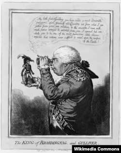 Георг III смотрит в подзорную трубу на Бонапарта-Гулливера. Ироническая карикатура Джеймса Гилрея, 1803 год