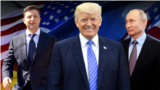 Ukrainian President Volodymyr Zelensky (left), U.S. President Donald Trump (center), and Russian President Vladimir Putin (combo photo)