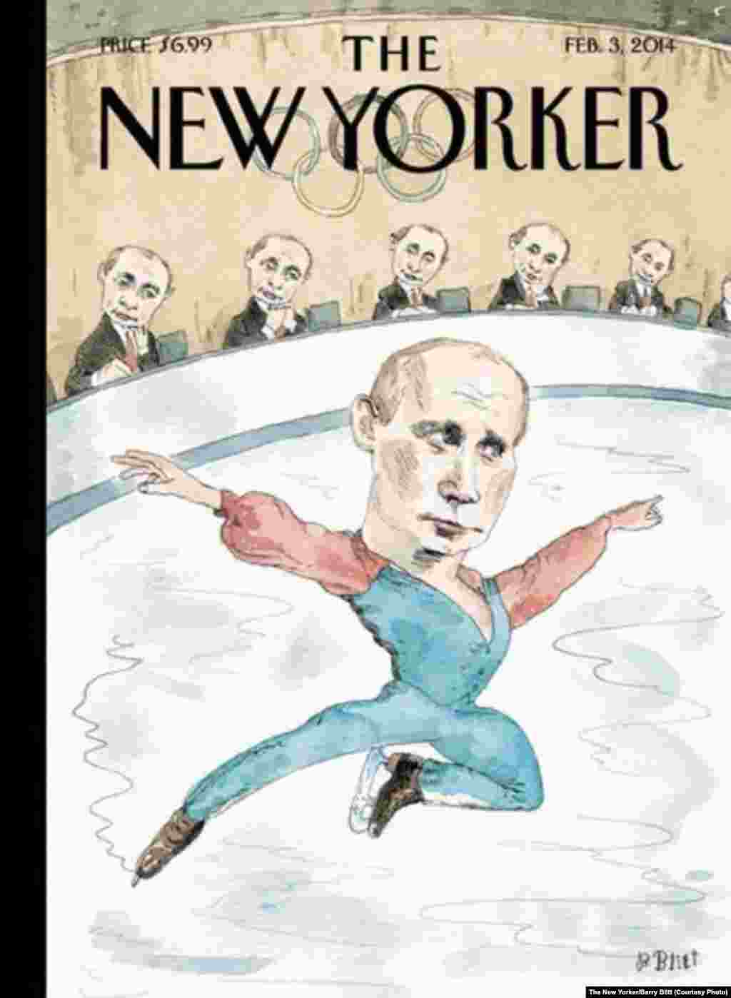 "This work, by Barry Blitt is titled, ""Jury of His Peers."" Several western nations have opted against sending high-level delegations to Sochi. The U.S. delegation includes three openly gay athletes -- an apparent statement against Russia's antigay legislation"