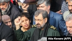 Former chief of the Revolutionary Guards Mohsen Rezai takes part in a rally after the assassination of the Iranian Major-General Qassem Soleimani. January 3, 2020