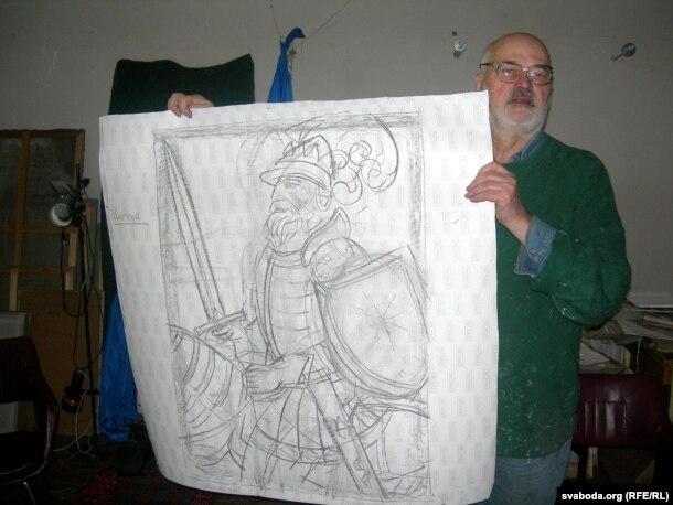 Аляксей Марачкін з эскізам працы да 1000-годзьдзя ВКЛ