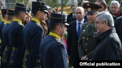 Greece - Armenian President Serzh Sarkisian speaks with Armenian cadets studying in Greek military academies, Athens, 16Mar2016.