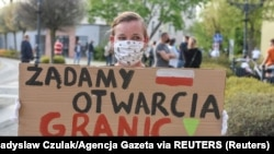 Protest na poljskoj strani granice, 24. april 2020.