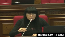 Armenia -- Naira Zohrabian, a parliament deputy from Prosperous Armenia Party, speaks in the National Assembly, Yerevan, 23Feb2015