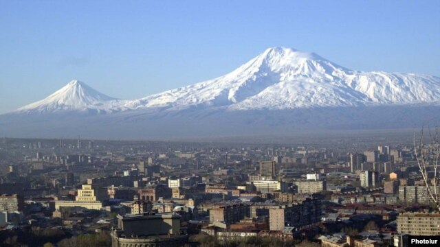 Armenia -- A view of the center of Yerevan against the backdrop of Mount Ararat.